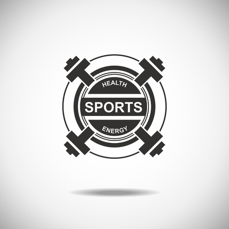 fitness equipment: Set of various sports and fitness logo emblem graphics and icons. Shop sport products
