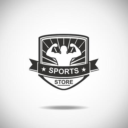 saludable logo: Conjunto de varios deportes y aptitud logo gr�ficos emblema e iconos. Productos deportivos Shop