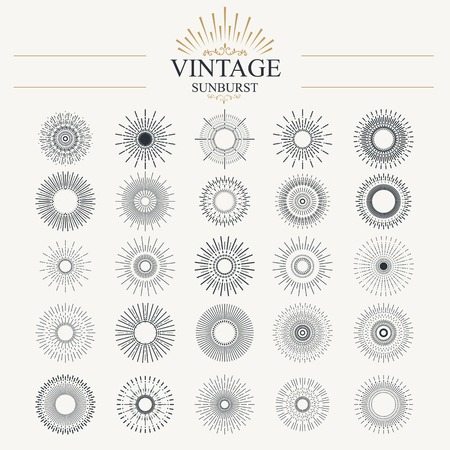 art school: Light ray. Vintage sunburst collection with geometric shape.