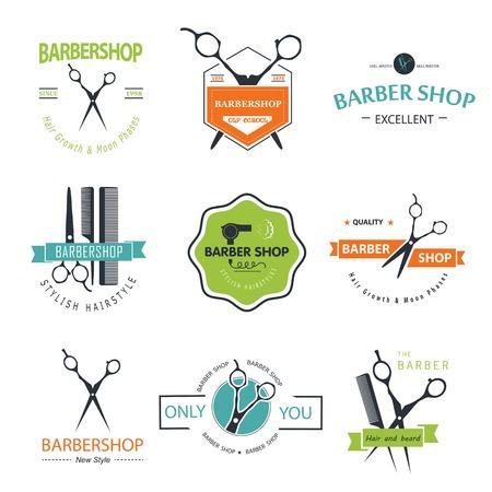 Vector set of retro barber shop labels, logo, badges and design element. Ilustração