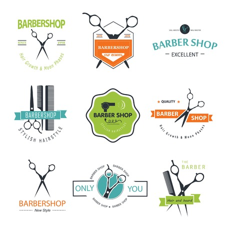 hair cut: Vector set of retro barber shop labels, logo, badges and design element. Illustration
