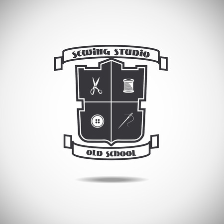 clothing label: Set of tailor labels, emblems and design elements. Tailor shop. Logo