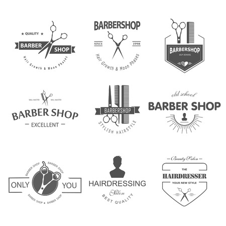 Vector set of retro barber shop labels, logo, badges and design element. Vector