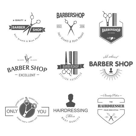 antique scissors: Vector set of retro barber shop labels, logo, badges and design element. Illustration