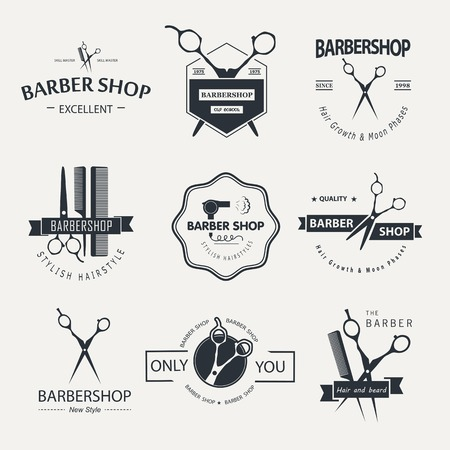 Vector set of retro barber shop labels, logo, badges and design element. Ilustração