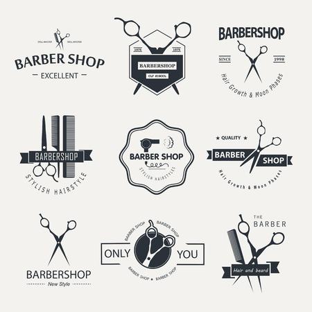 Vector set of retro barber shop labels, logo, badges and design element. Stock Illustratie