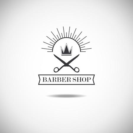 Vector set of retro barber shop labels, logo, badges and design element.  イラスト・ベクター素材