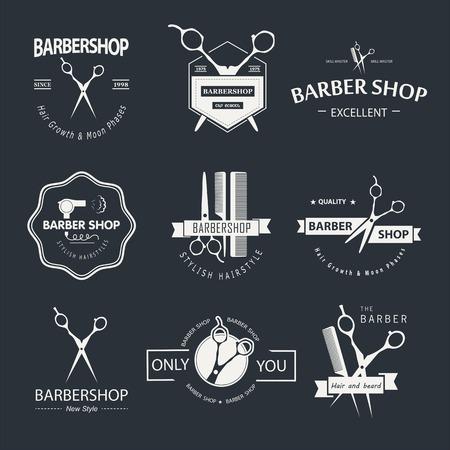 peluquerias: Vector conjunto de etiquetas retro tienda de barbero, logotipo, insignias y elementos de diseño. Vectores