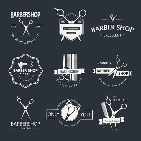 scissors: Vector set of retro barber shop labels, logo, badges and design element. Illustration