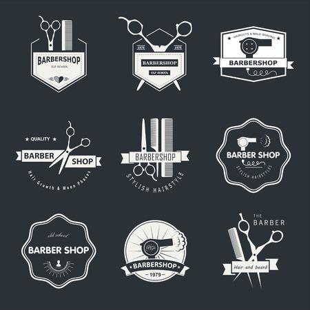 barbero: Vector conjunto de etiquetas retro tienda de barbero, logotipo, insignias y elementos de diseño. Vectores