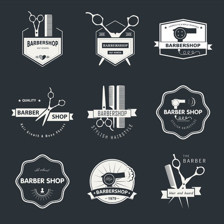 barber scissors: Vector set of retro barber shop labels, logo, badges and design element. Illustration