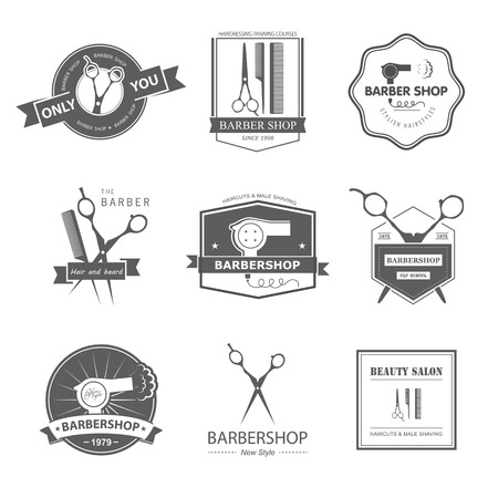 barber: Vector set of retro barber shop labels, logo, badges and design element. Illustration