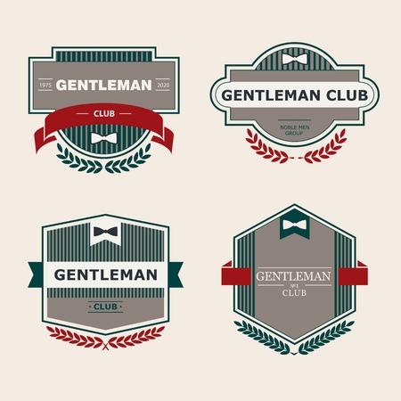 Set of vector vintage gentlemen club design elements,  emblem, stamp Illustration