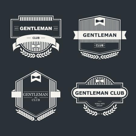 nobleman: Set di elementi vettoriali epoca Gentlemen Club di design, logo, emblema, francobolli