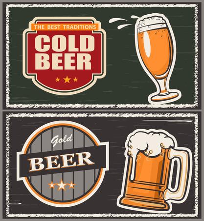 alcohol logo: Vector illustration a glass of beer, emblem, logo Illustration