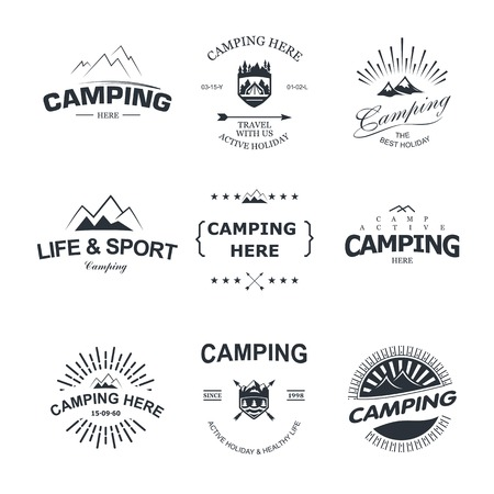 Set of retro badges and label logo graphics. Camping badges and travel logo emblems Illustration