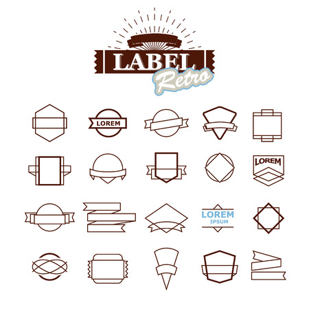 creating: Huge set of vintage vector badge shapes, collection of design elements for creating retro logos