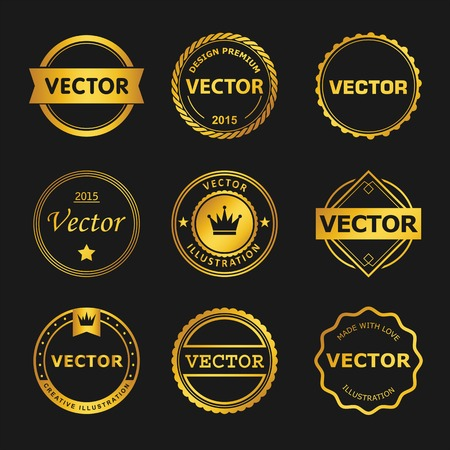 stamp collection: Vector design set  of emblem, stamp, illustrations