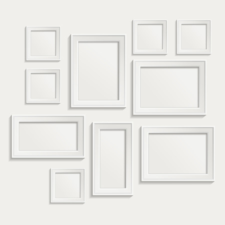white boxes: Modern realistic frame on a white background
