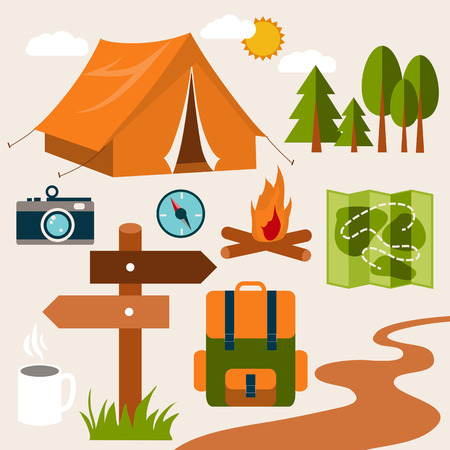 spring summer: Set of camping of adventure. Equipment icon set in vector.