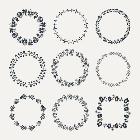 wreath collection: Vector collection of  hand drawn laurel wreath