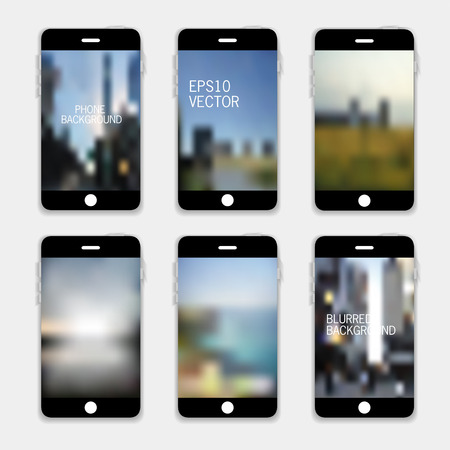 VCollection of Technology Wallpaper Designs. Set of Mobile Phones Blurred Backgrounds. Abstract Vector Illustrations. Vector