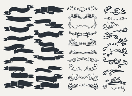 Set of ornaments, scribbles, frames, icons and decorative elements.