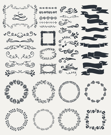 title hands: Set of flowers, ribbons, frames, icons and decorative elements.