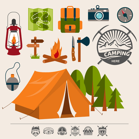 scouts: Set of camping of adventure. Equipment icon set in vector.