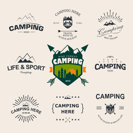 alps: Set of retro badges and label logo graphics. Camping badges and travel logo emblems Illustration