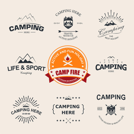 camps: Set of retro badges and label logo graphics. Camping badges and travel logo emblems Illustration