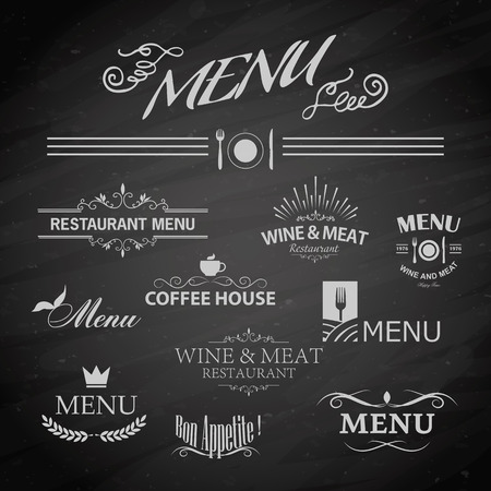 ornament menu: Vector template chalkboard menu for restaurant and snack bars
