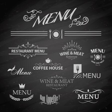 retro revival: Vector template chalkboard menu for restaurant and snack bars
