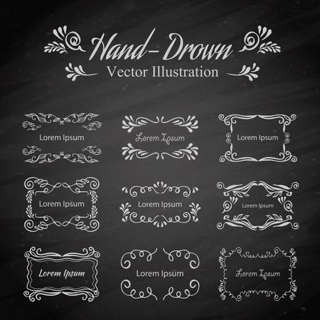 Set of vintage vector elements. Frame, invitations, decorations and floral elements Illustration