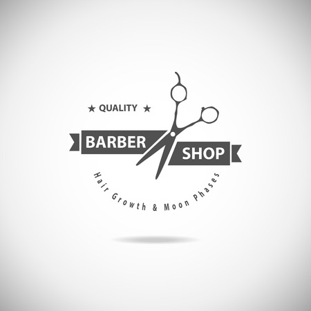 Vector retro barber shop label, badge and design element. Ilustração