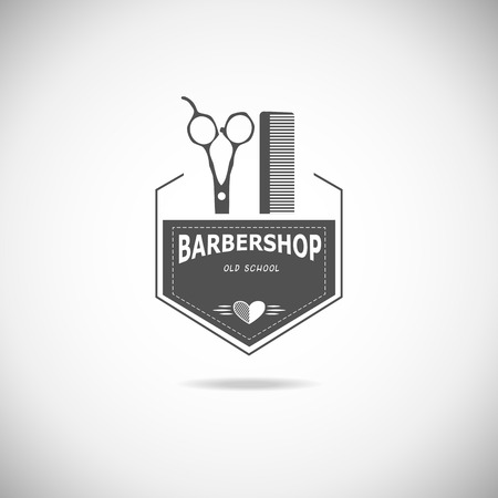 Vector retro barber shop label, logo, badge and design element. Illustration