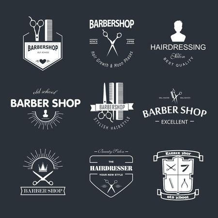antique shop: Vector retro barber shop label, badge and design element. Illustration
