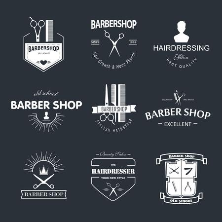 barbero: Vector retro tienda de barbero etiqueta, insignia y elemento de dise�o.