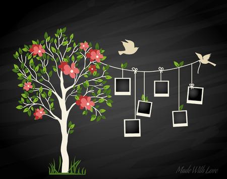 arbol genealógico: Árbol de recuerdos con marcos de fotos. Inserte sus fotos en marcos