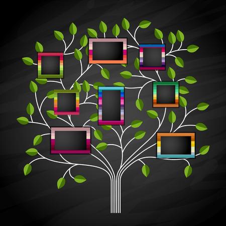 árbol genealógico: Árbol de recuerdos con marcos de fotos. Inserte sus fotos en marcos