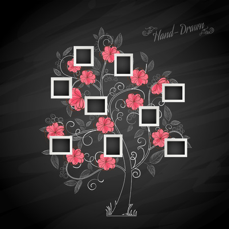 family memories: Memories tree with photo frames. Insert your photos into frames