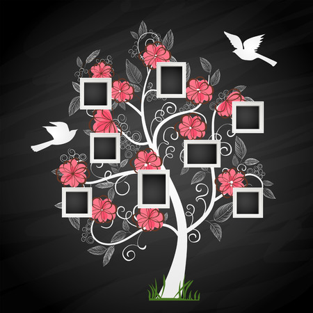 animal family: Memories tree with photo frames. Insert your photos into frames
