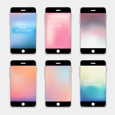 Collection of Technology Wallpaper Designs. Set of Mobile Phones Blurred Backgrounds.  Abstract Vector Illustrations. Vector
