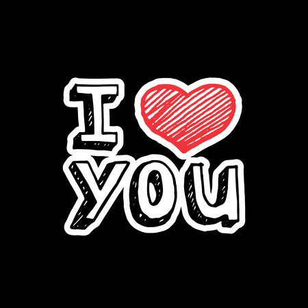 te negro: Te quiero, texto con la muestra del corazón. Vectores