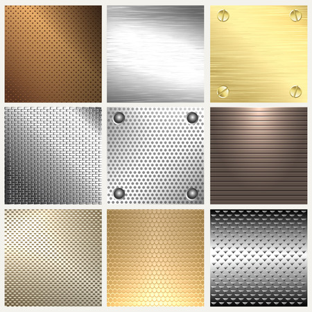 Set of metal texture background.