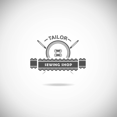 tailor shop: Set of tailor labels, emblems and design elements.  Illustration