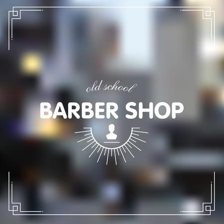 shop sign: Barber shop icon emblem label