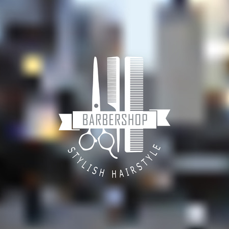 beautiful hair: Barber shop icon emblem label