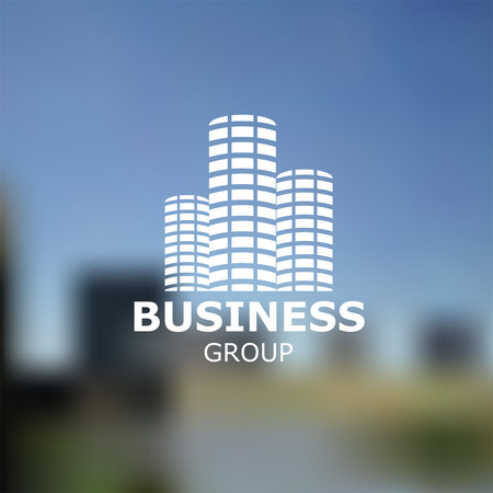 construction firm: Building silhouette on blurred nature background