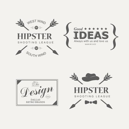 badge icon: Set of vintage hipster design elements icon, badges and emblems